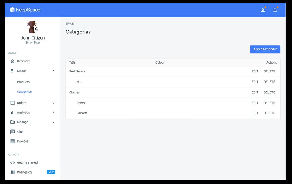 Sku categories page on KeepSpace platform