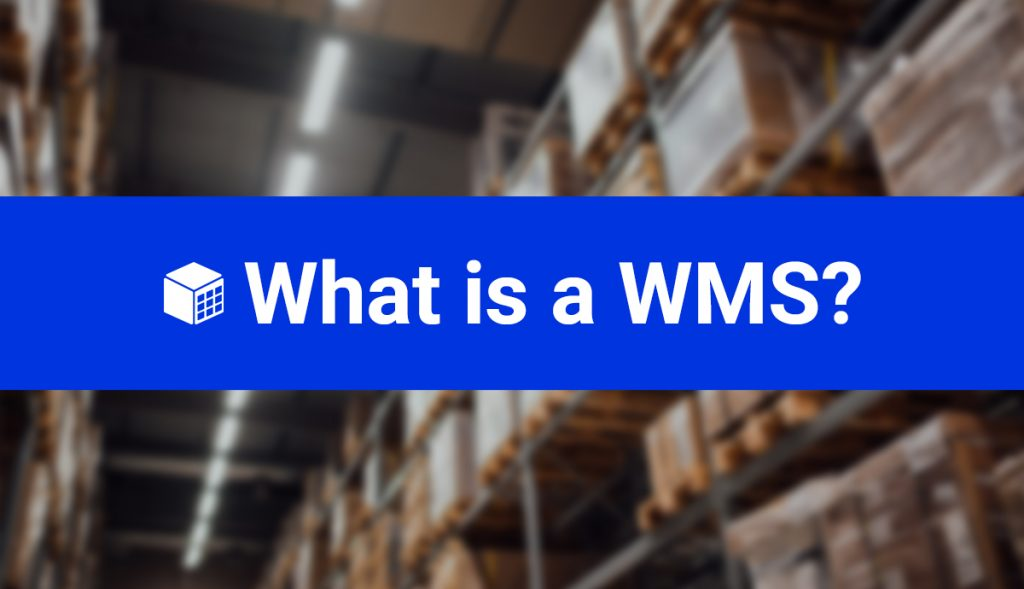 image of a blurred warehouse shelf with a ribbon including blog title What is a WMS?